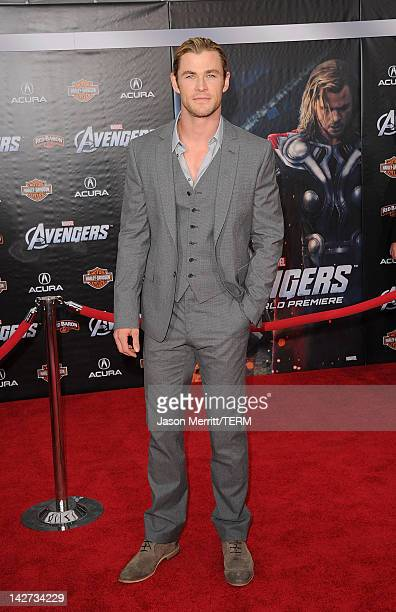 Actor Chris Hemsworth arrives at the premiere of Marvel Studios' 'The Avengers' at the El Capitan Theatre on April 11 2012 in Hollywood California