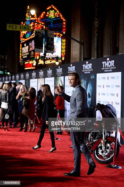 Actor Chris Hemsworth arrives at the premiere of Marvel's Thor The Dark World at the El Capitan Theatre on November 4 2013 in Hollywood California