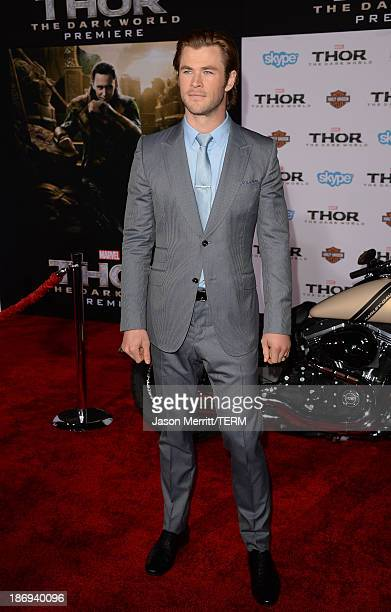Actor Chris Hemsworth arrives at the premiere of Marvel's 'Thor The Dark World' at the El Capitan Theatre on November 4 2013 in Hollywood California