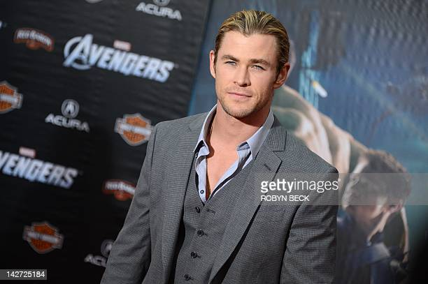 """Actor Chris Hemsworth arrives at the the world premiere of Marvel's """"The Avengers"""" at the El Capitan Theatre in Hollywood, California, April 11,..."""