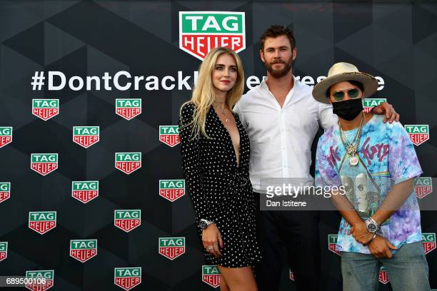Actor Chris Hemsworth Artist Alec Monopoly and Fashion blogger and model Chiara Ferragni at the TAG Heuer Culinary Challenge on May 27 2017 in...