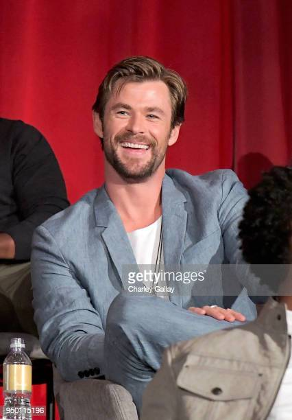 Actor Chris Hemsworth at the Avengers Infinity War Press Junket in Los Angeles CA April 22nd 2018