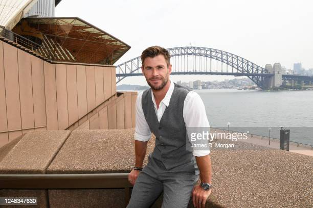Actor Chris Hemsworth at the Sydney Opera House for the launch of the latest Tourism Australia campaign on October 30 2019 in Sydney Australia...