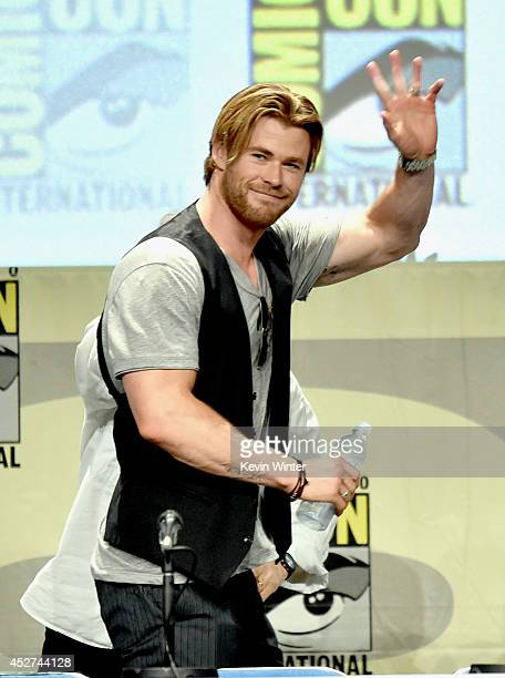 Actor Chris Hemsworth attends the Legendary Pictures preview and panel during ComicCon International 2014 at San Diego Convention Center on July 26...
