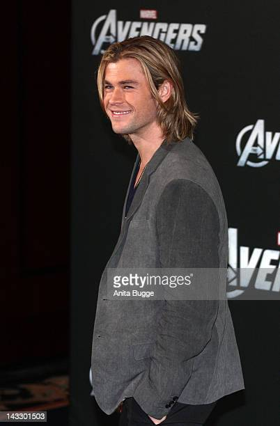 Actor Chris Hemsworth attends the 'Marvel's The Avengers' Berlin Photocall at the Ritz Carlton Hotel on April 23 2012 in Berlin Germany