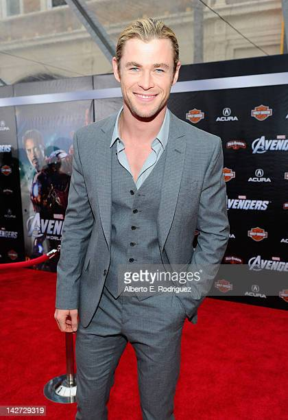 """Actor Chris Hemsworth attends the premiere of Marvel Studios' """"Marvel's The Avengers"""" held at the El Capitan Theatre on April 11, 2012 in Hollywood,..."""