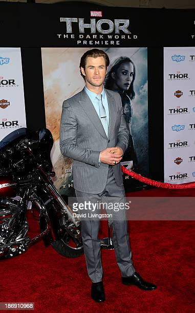 Actor Chris Hemsworth attends the premiere of Marvel's Thor The Dark World at the El Capitan Theatre on November 4 2013 in Hollywood California