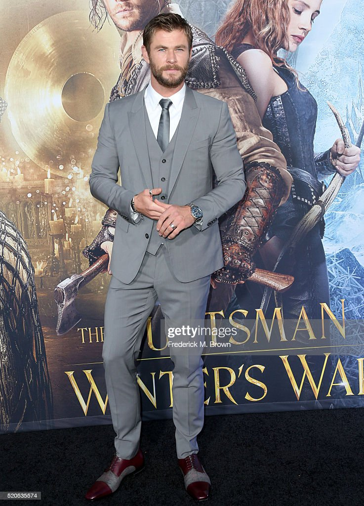 Actor Chris Hemsworth attends the premiere of Universal Pictures' 'The Huntsman: Winter's War' at the Regency Village Theatre on April 11, 2016 in Westwood, California.