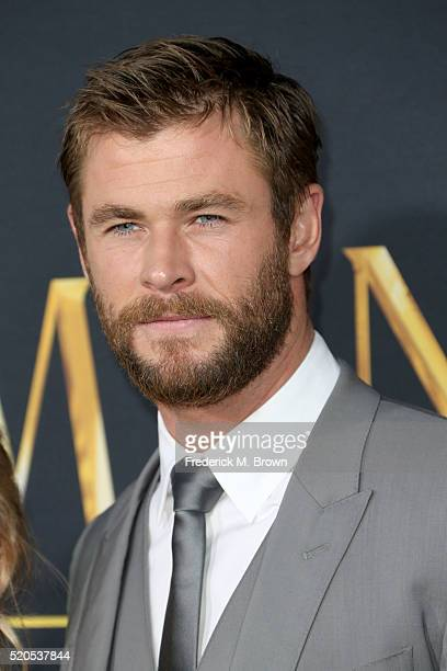 Actor Chris Hemsworth attends the premiere of Universal Pictures' The Huntsman Winter's War at the Regency Village Theatre on April 11 2016 in...