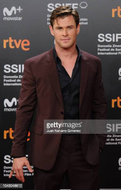 Actor Chris Hemsworth attends the red carpet of the closure gala during 66th San Sebastian Film Festival at Kursaal on September 29 2018 in San...
