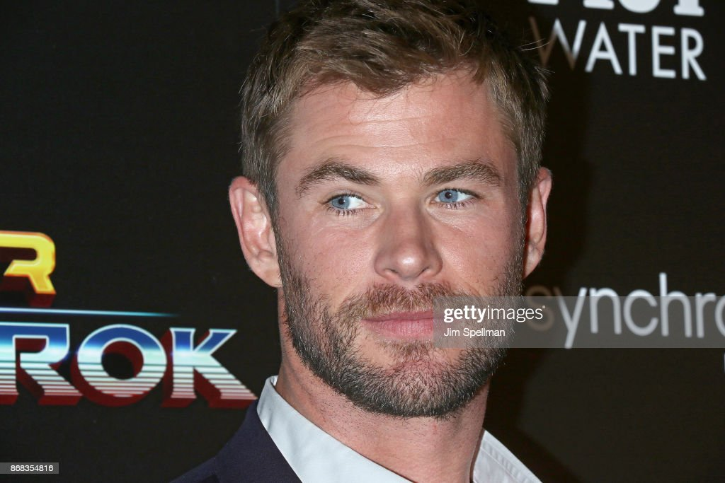 Actor Chris Hemsworth attends the screening of Marvel Studios' 'Thor: Ragnarok' hosted by The Cinema Society with FIJI Water, Men's Journal and Synchrony at the Whitby Hotel on October 30, 2017 in New York City.