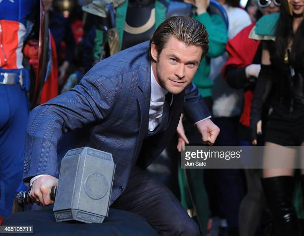 Actor Chris Hemsworth attends the Thor The Dark World premiere at Cinema Mediage on January 26 2014 in Tokyo Japan
