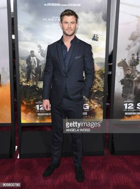 Actor Chris Hemsworth attends the world premiere of '12 Strong' at Jazz at Lincoln Center on January 16 in New York City / AFP PHOTO / ANGELA WEISS