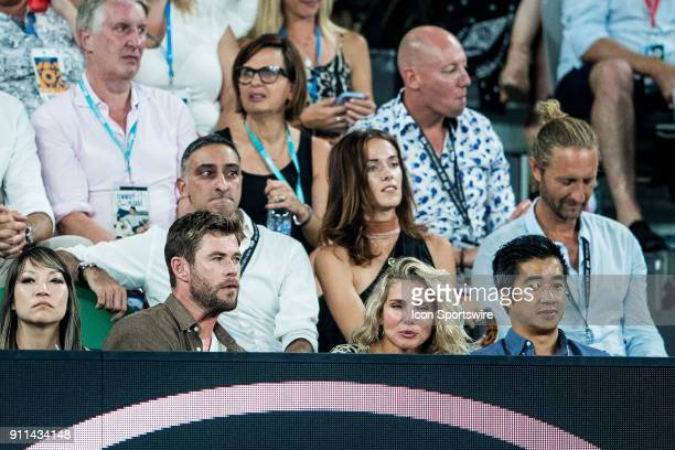 actor CHRIS HEMSWORTH during day fourteen match of the 2018 Australian Open on January 28 2018 at Melbourne Park Tennis Centre Melbourne Australia