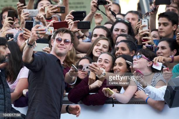 Actor Chris Hemsworth is seen arriving at Maria Cristina Hotel during 66th San Sebastian International Film Festival on September 29, 2018 in San...