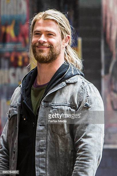 Actor Chris Hemsworth is seen on the set of the film Thor Ragnarok on August 23 2016 in Brisbane Australia