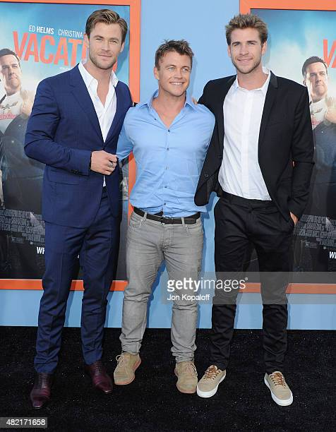 Actor Chris Hemsworth Luke Hemsworth and Liam Hemsworth arrive at the Los Angeles Premiere Vacation at Regency Village Theatre on July 27 2015 in...
