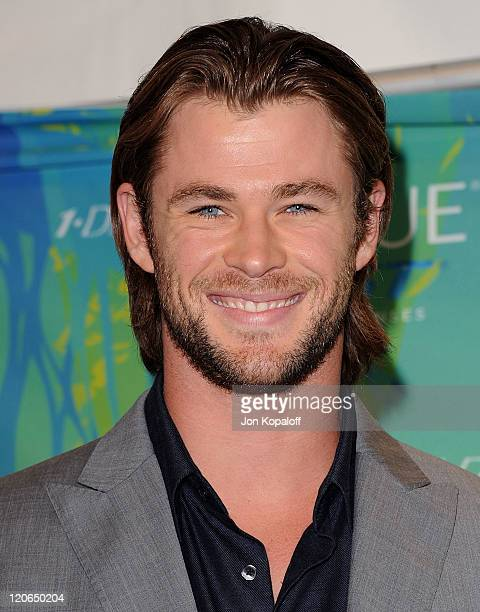 Actor Chris Hemsworth poses at the 2011 Teen Choice Awards Press Room at Gibson Amphitheatre on August 7, 2011 in Universal City, California.