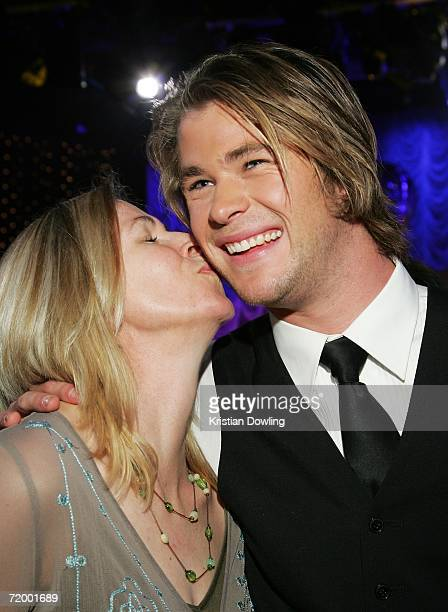 Actor Chris Hemsworth recieves a kiss from his mother at the Dancing With The Stars after show drinks party, following the first night of Season Five...