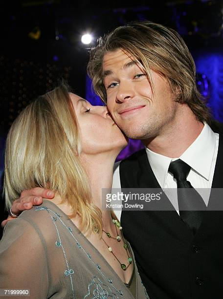 Actor Chris Hemsworth recieves a kiss from his mother Leonie Hemsworth at the Dancing With The Stars after show drinks party following the first...