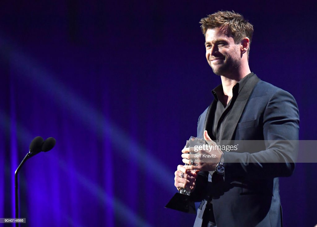 Actor Chris Hemsworth speaks on stage at The 23rd Annual Critics' Choice Awards at Barker Hangar on January 11, 2018 in Santa Monica, California.