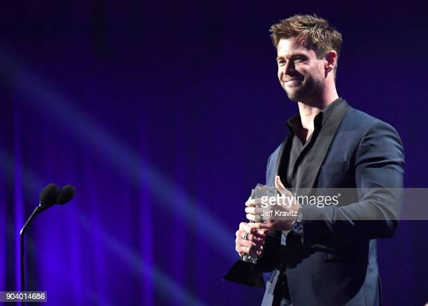 Actor Chris Hemsworth speaks on stage at The 23rd Annual Critics' Choice Awards at Barker Hangar on January 11 2018 in Santa Monica California
