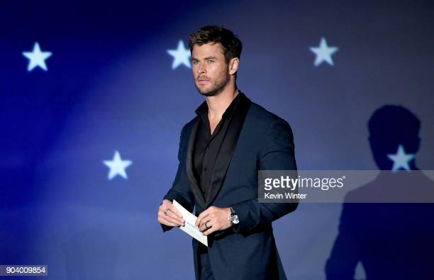 Actor Chris Hemsworth speaks onstage during The 23rd Annual Critics' Choice Awards at Barker Hangar on January 11 2018 in Santa Monica California