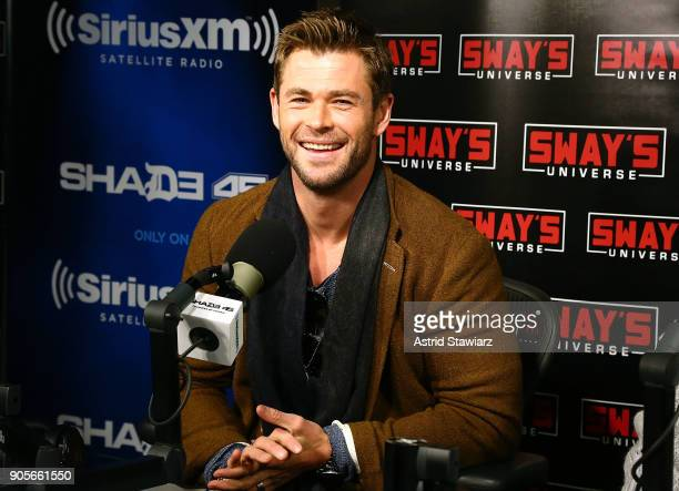 Actor Chris Hemsworth visits 'Sway in the Morning' hosted by SiriusXM's Sway Calloway on Eminem's Shade 45 channel at the SiriusXM studios on January...