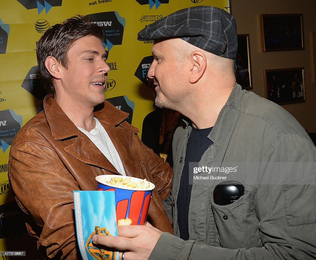 Actor Chris Lowell (L) and actor Enrico Colantoni arrives at the premiere of 'Veronica Mars' during the 2014 SXSW Music, Film + Interactive Festival at the Paramount Theatre on March 8, 2014 in Austin, Texas.