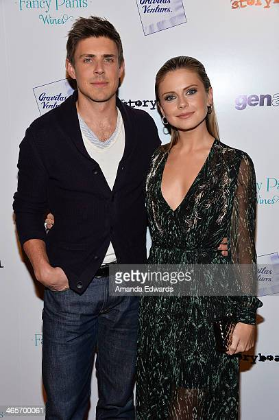 Actor Chris Lowell and actress Rose McIver arrive at the Los Angeles premiere of Brightest Star at the Sundance Sunset Cinema on January 28 2014 in...