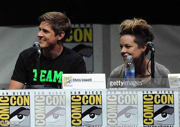 Actor Chris Lowell and actress Tina Majorino speak onstage at the Veronica Mars special video presentation and QA during ComicCon International 2013...