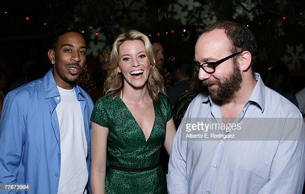 Actor Chris Ludacris Bridges actress Elizabeth Banks and actor Paul Giamatti attend the after party at Warner Bros Pictures' premiere of Fred Claus...