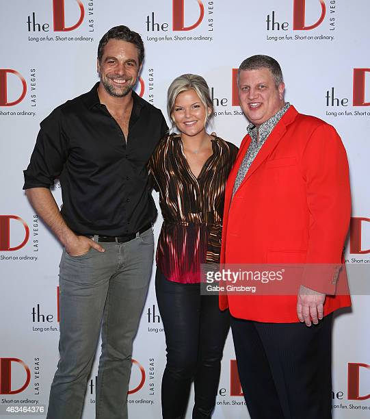 Actor Chris McKenna radio personality DK of Dave Mahoney DK Morning Show and The D Las Vegas owner Derek Stevens arrive at the D DateAThon event at...