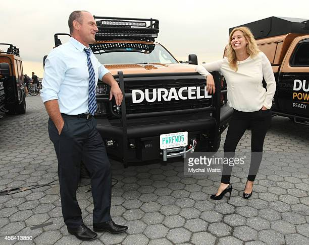 Actor Chris Meloni and Weather Channel's Stephanie Abrams at Battery Park on September 30 2014 in New York City