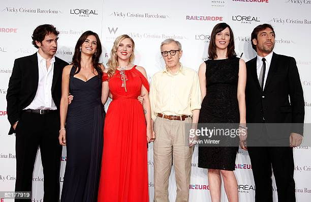 Actor Chris Messina actresses Penelope Cruz Scarlett Johansson director Woody Allen actress Rebecca Hall and actor Javier Bardem arrive on the red...