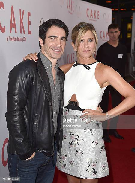 Actor Chris Messina and actress/producer Jennifer Aniston attend the premiere of Cinelou Films' 'Cake' at ArcLight Cinemas on January 14 2015 in...