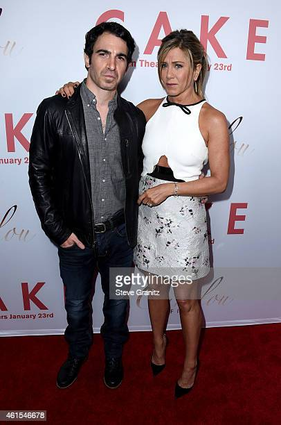 Actor Chris Messina and actress/producer Jennifer Aniston attend the Los Angeles premiere of Cake at ArcLight Cinemas on January 14 2015 in Los...