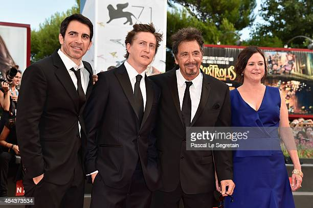 Actor Chris Messina director David Gordon Green and actor Al Pacino with producer Lisa Muskat attend the 'Manglehorn' premiere during 71st Venice...