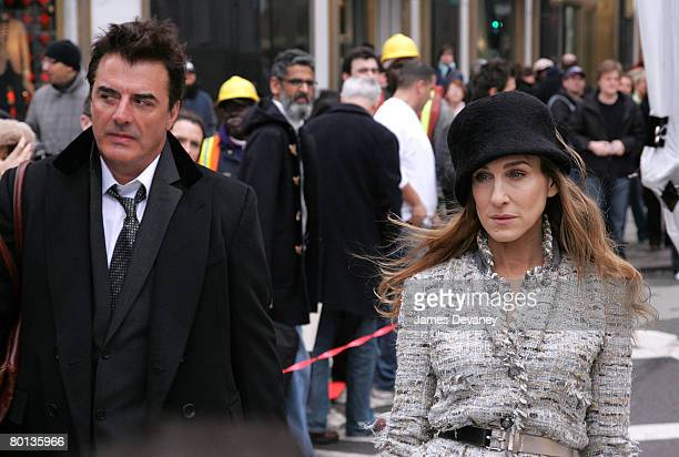 Actor Chris Noth and actress Sarah Jessica Parker on location for Annie Leibowitz's Vogue 'Sex and the City' photo shoot March 5 2008 in New York City