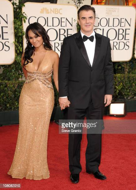 Actor Chris Noth and guest arrive at the 68th Annual Golden Globe Awards held at The Beverly Hilton hotel on January 16 2011 in Beverly Hills...