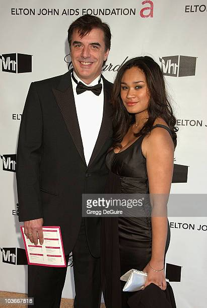 Actor Chris Noth and guest attends the 16th Annual Elton John AIDS Foundation Oscar Party at the Pacific Design Center on February 24 2008 in West...