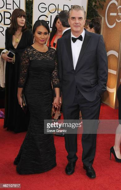 Actor Chris Noth and Tara Wilson attend the 71st Annual Golden Globe Awards held at The Beverly Hilton Hotel on January 12 2014 in Beverly Hills...