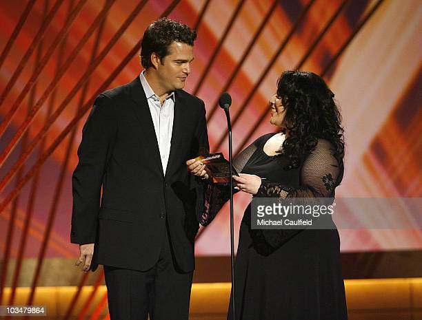 Actor Chris O'Donnell and Actress Nikki Blonsky onstage at the 13th Annual Critics' Choice Awards at the Santa Monica Civic Auditorium on January 7...
