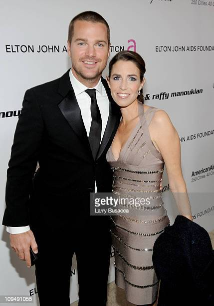 Actor Chris O'Donnell and Caroline Fentress arrive at the 19th Annual Elton John AIDS Foundation Academy Awards Viewing Party at the Pacific Design...