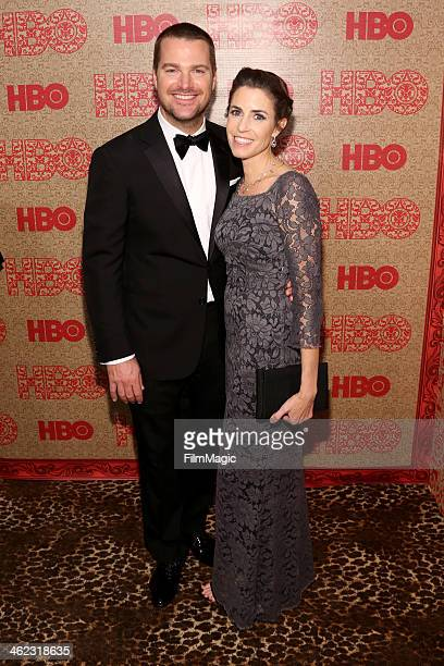 Actor Chris O'Donnell and Caroline Fentress attend HBO's Official Golden Globe Awards After Party at The Beverly Hilton Hotel on January 12 2014 in...