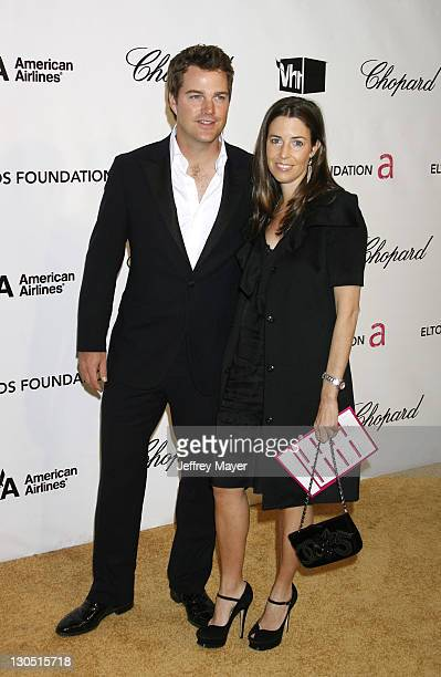Actor Chris O'Donnell and Caroline Fentress attend the 16th Annual Elton John AIDS Foundation Oscar Party at the Pacific Design Center on February 24...