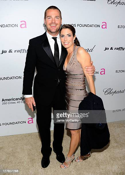 Actor Chris O'Donnell and Caroline Fentress attend the 19th Annual Elton John AIDS Foundation Academy Awards Viewing Party at the Pacific Design...