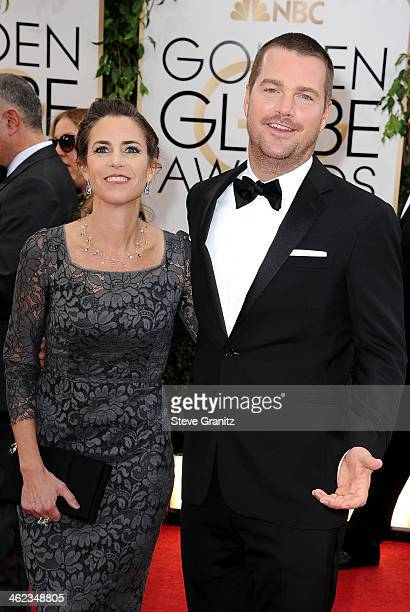 Actor Chris O'Donnell and Caroline Fentress attend the 71st Annual Golden Globe Awards held at The Beverly Hilton Hotel on January 12, 2014 in...