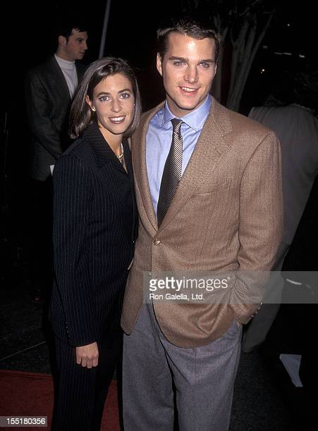 Actor Chris O'Donnell and girlfriend Caroline Fentress attend the In Love and War Los Angeles Premiere on January 20 1997 at the DGA Theatre in Los...