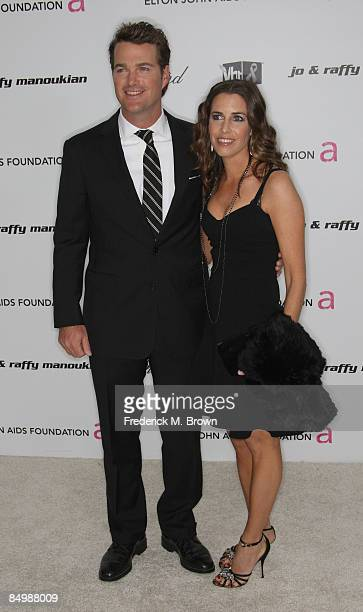 Actor Chris O'Donnell and wife Caroline Fentress arrive at the 17th Annual Elton John AIDS Foundation's Academy Award Viewing Party held at the...